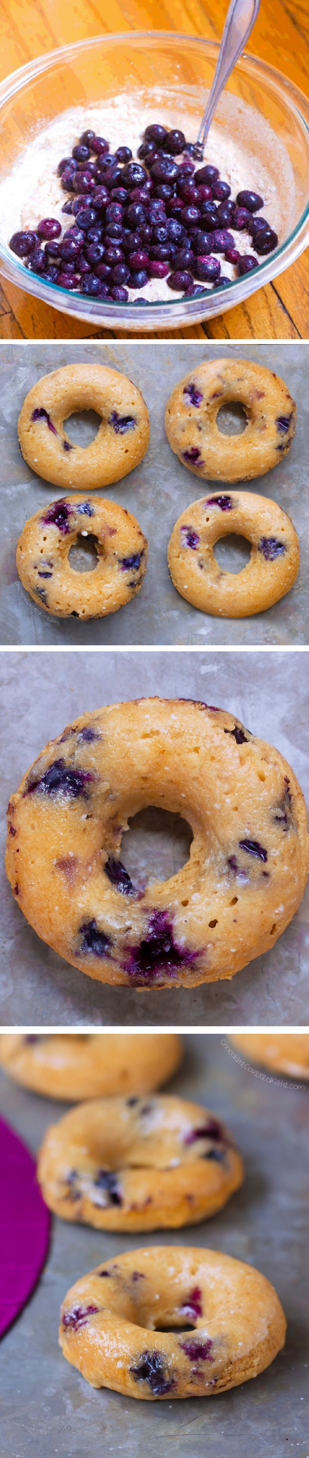 Ingredients: 1/2 cup blueberries, 1 cup flour, 1 tsp baking powder, 1/2 tsp cinnamon, 1/4 cup… http://chocolatecoveredkatie.com/2016/04/14/baked-donuts-blueberry-refined-sugar-free/ /choccoveredkt/