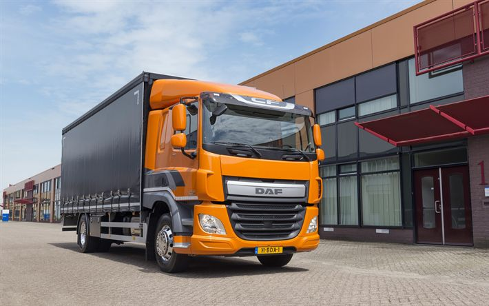 Download wallpapers DAF CF, 2017, small trucks, cargo trucks, cargo delivery, orange cabin, transportation, CF310FA, DAF