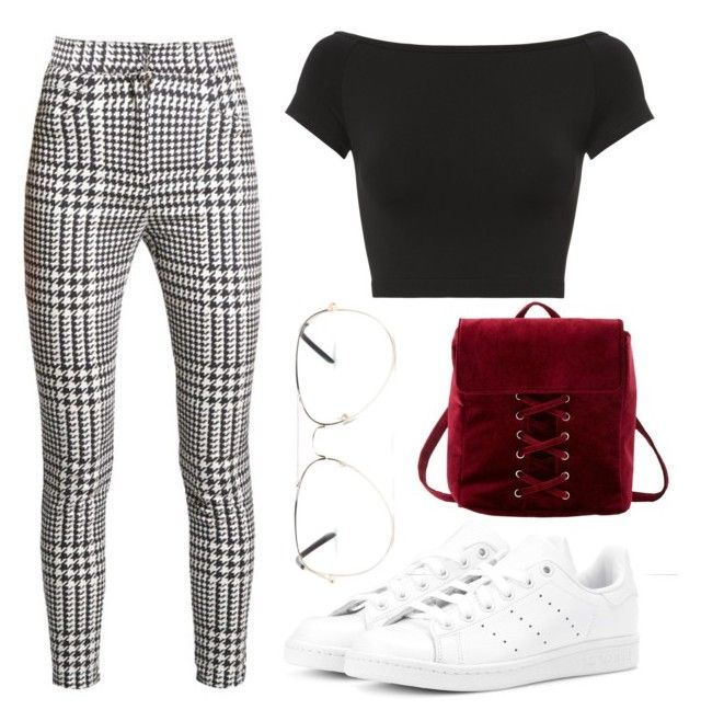 """Checked And Burgundy"" by liaperezmorales on Polyvore featuring adidas Originals, Charlotte Russe, Armitage Avenue, Helmut Lang and Balmain"