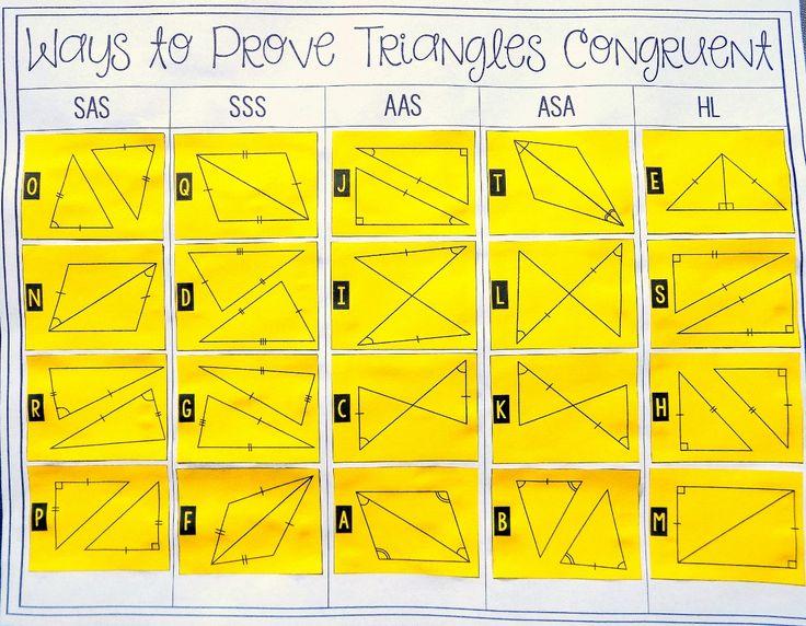 proving triangles congruent card sort teaching geometry