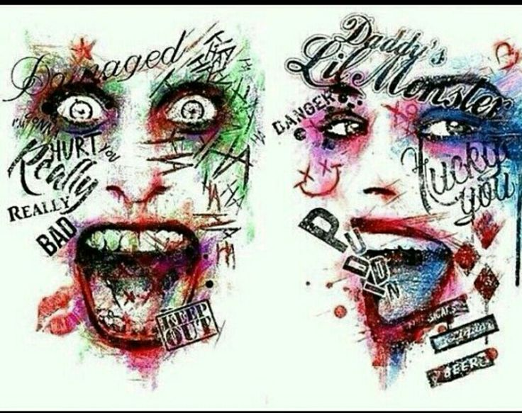 SS fan art with the joker and Harley Quinn