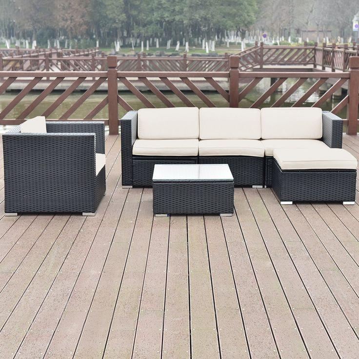 6 pcs Patio Rattan Furniture Set