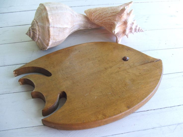 Vintage Wooden Angel Fish with agate eye Cutting Board or Trivet Handmade  Folk Art by lookonmytreasures on Etsy