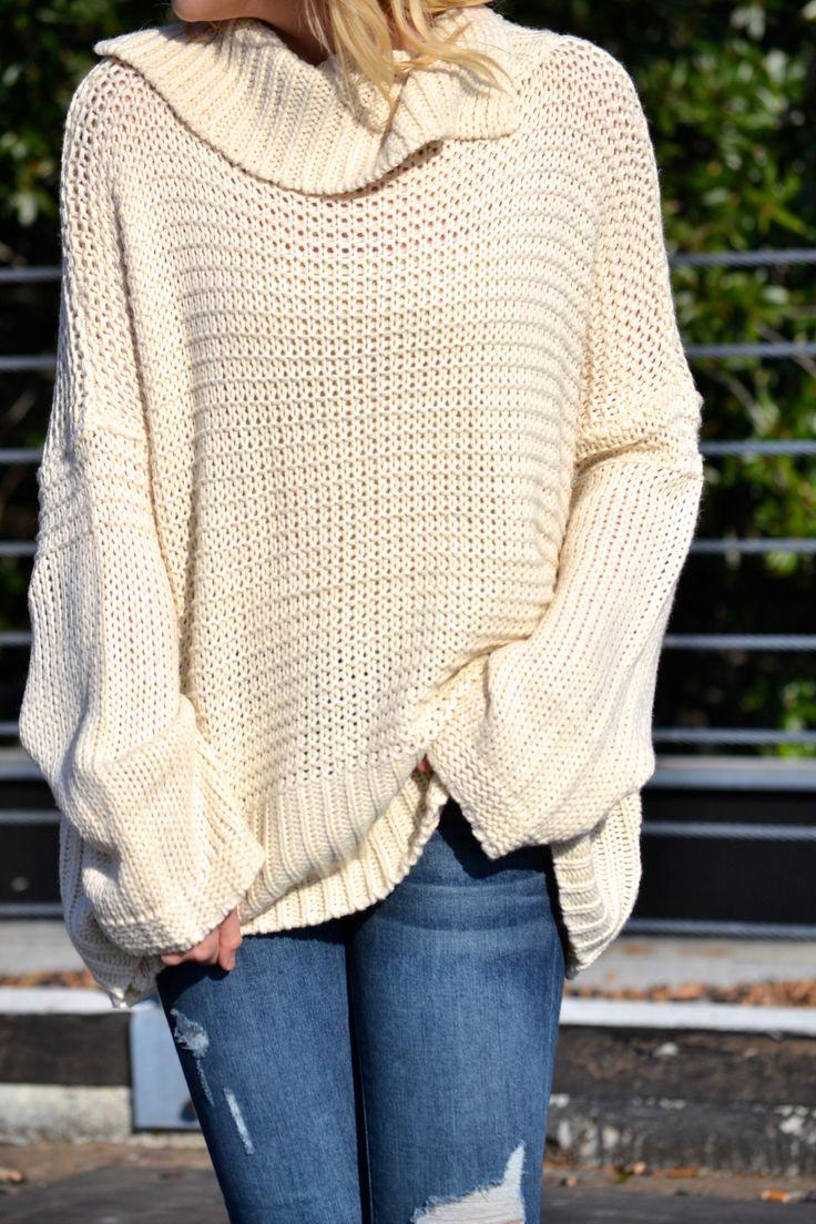 Chunky Knit Turtleneck Sweater - Cream