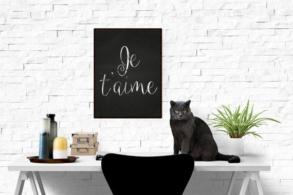 Chalkboard Print, Typography Poster, Instant Download - Je Taime, Scandinavian Print, Love Poster, Chalk Typography Home Decor, WP176