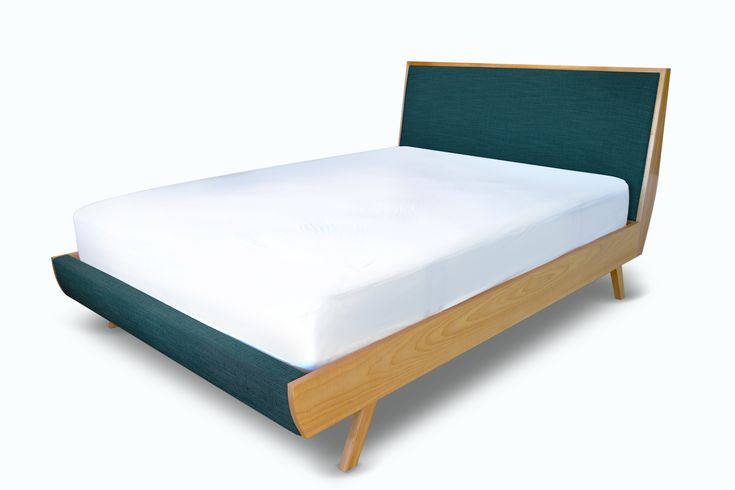 Its design features an upholstered head board and front with removable fabric cover. Meanwhile, its timber frame, base and floating foot
