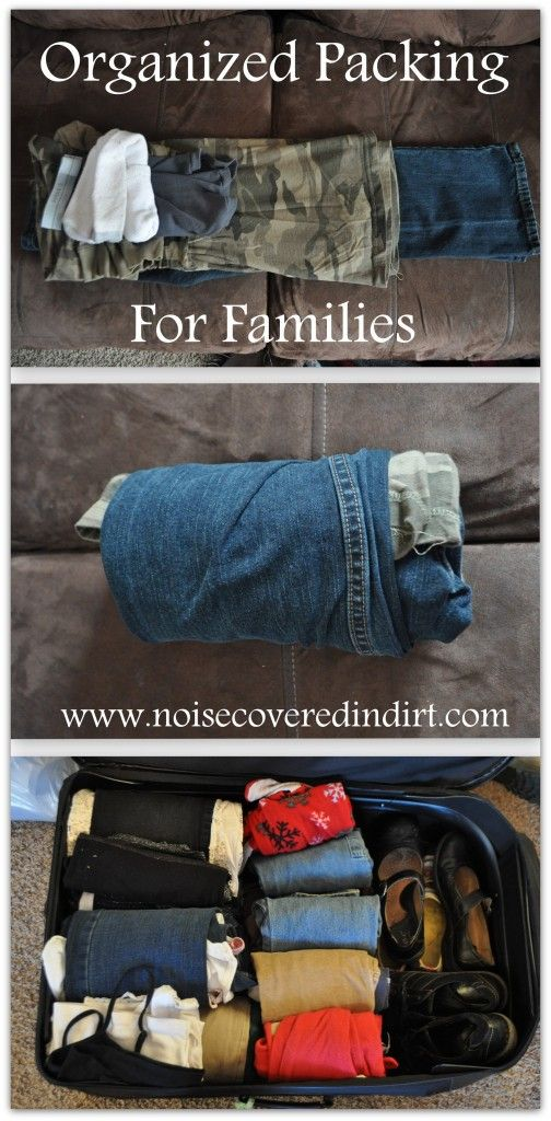 Organized Packing for Families: good way to have all parts of your children's outfits all in one place.