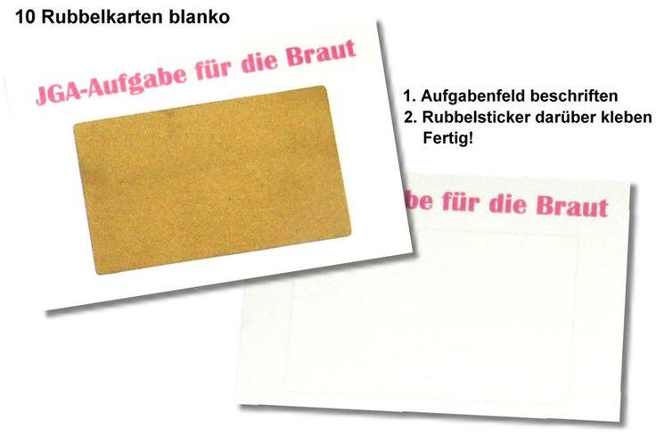 Hochzeitsbuttons - JGA Spiel Aufgabe Braut 10 Rubbelkarten - ein Designerstück von button4u bei DaWanda