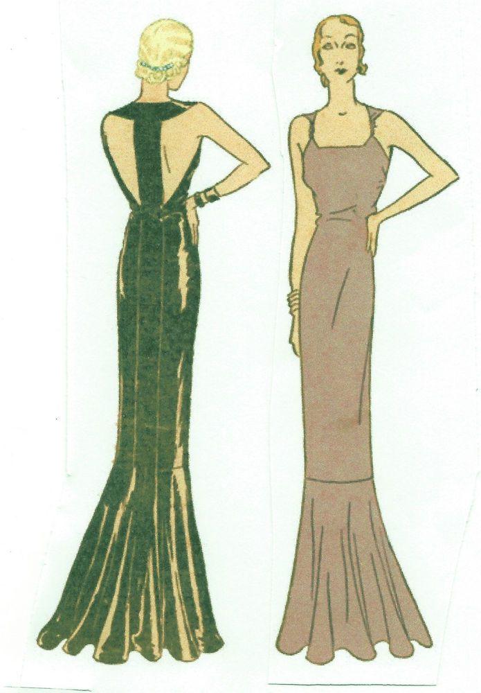 1930s Vintage Sewing Pattern B34 Evening Dress (R952)