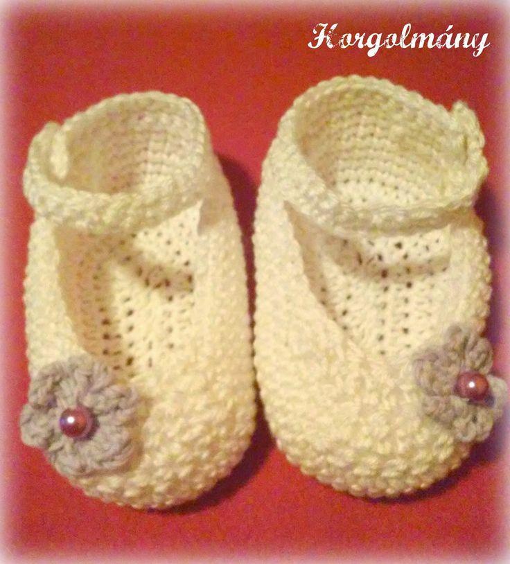 Horgolmány, crochet baby shoes