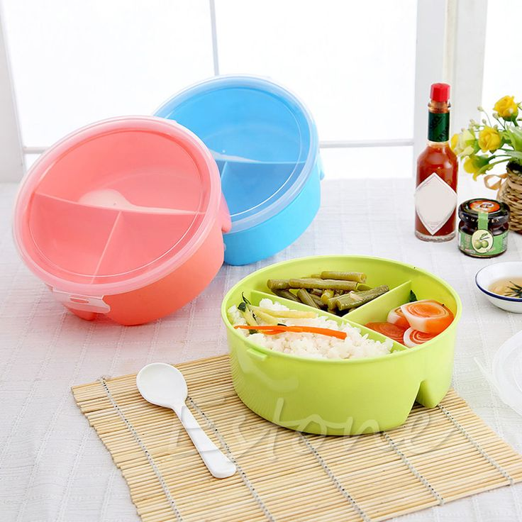 Round Portable Microwave Lunch Box Picnic Bento Food Container Storage+Spoon NEW #Unbranded