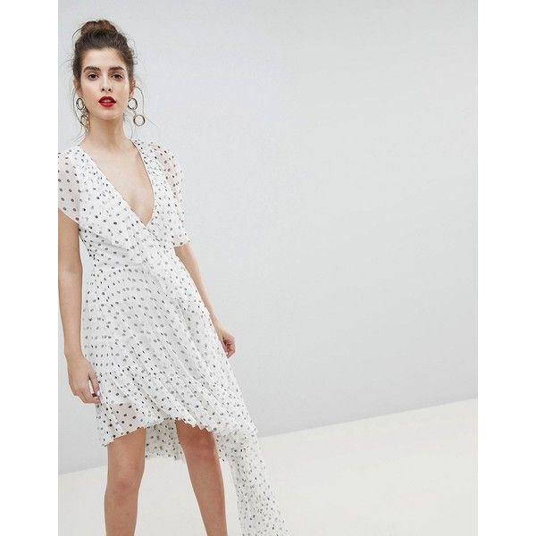ASOS DESIGN Mono Polka Dot Plunge Tulle High Low Mini Dress ($70) ❤ liked on Polyvore featuring dresses, multi, petite, short petite dresses, plunging neckline cocktail dress, petite dresses, hi low dress and short in front long in back dress