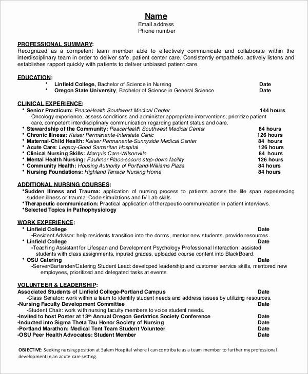 25 Nursing Student Resume Templates in 2020 Student