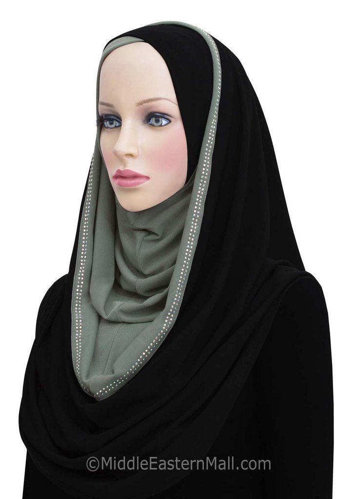 Hoodie Hijab 2 Tone Easy Instant Headscarf in # 4 Gray