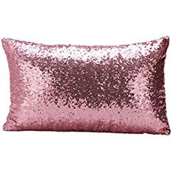 GBSELL Pillow Cover Glitter Sequins Rectangle Throw Pillow Case Cafe Home Party Christmas Decor Cushion (Pink)