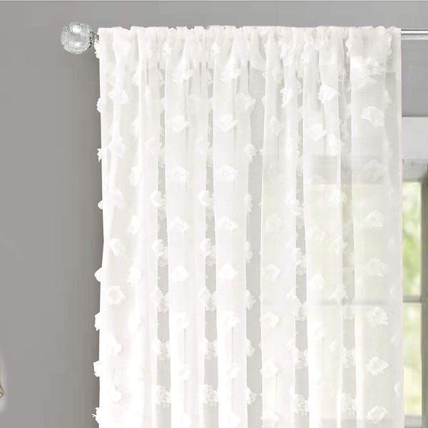 Driftaway Olivia White Voile Chiffon Sheer Window Curtain Panel