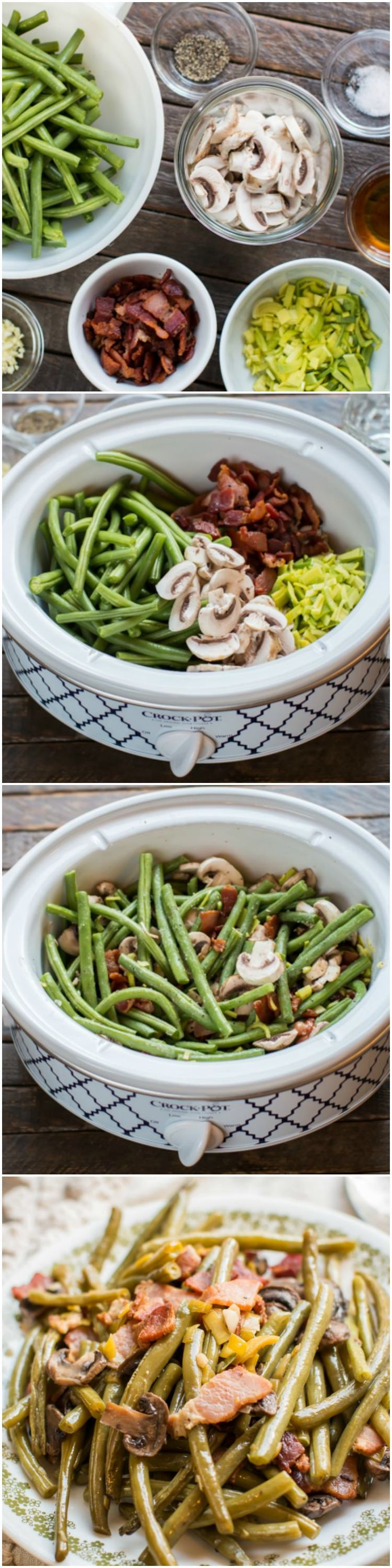 Slow Cooker Holiday Green Beans @Connie Rock-pot #CrockPotRecipes #ad