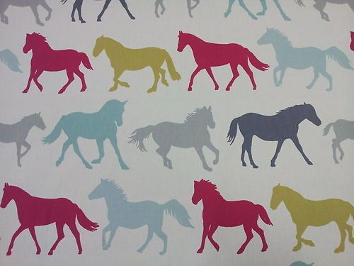 Stampede Horses - Multi - Clarke and Clarke Fabric