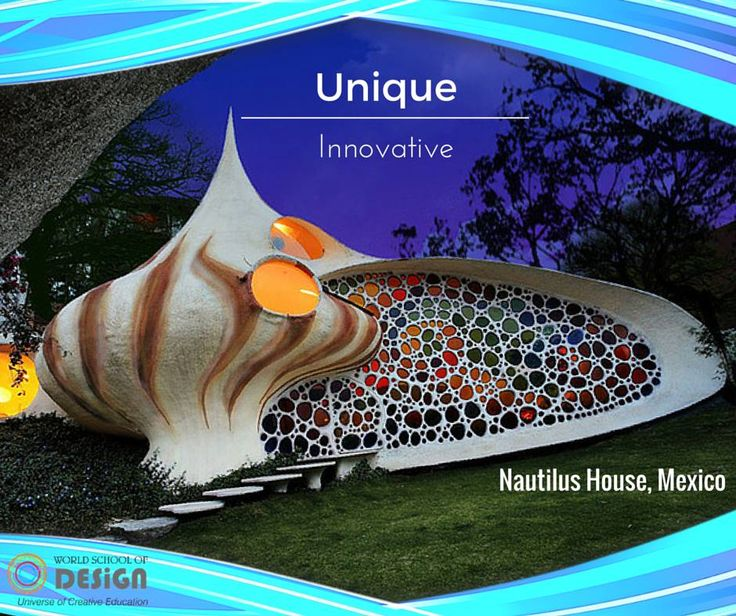 """The Nautilus house located near Mexico City is a unique shell shaped house designed by Mexican architect Javier Senosiain of Arquitectura Organica. The house design is very innovative, unusual and audacious. Javier Senosiain decided to bring the aquatic life into architecture. Inspired by the work of Gaudí and Frank Lloyd Wright, Javier Senosiain has brought to Mexico City this sparkling example of what he calls """"Bio-Architecture"""". Learn unique way to build at worldschoolofdesign.in…"""