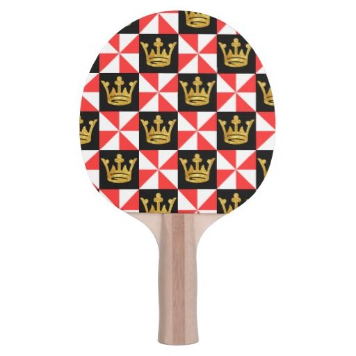 Medieval romanesque golden crowns Ping-Pong paddle