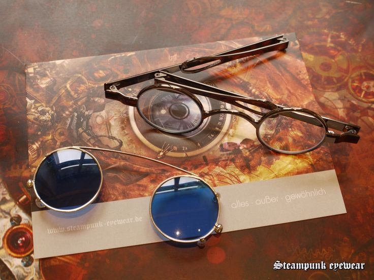 Steampunk Glasses with blue eye sunclip