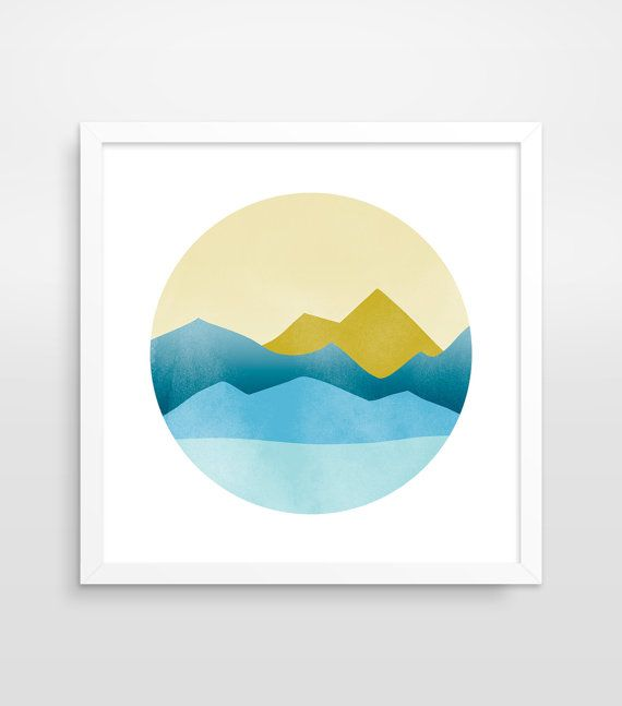 Geometric Mountain Art Print, Mid Century Modern Art, Abstract Landscape, Circle Wall Art, Minimalist Poster, Scandinavian Print, PNW Art