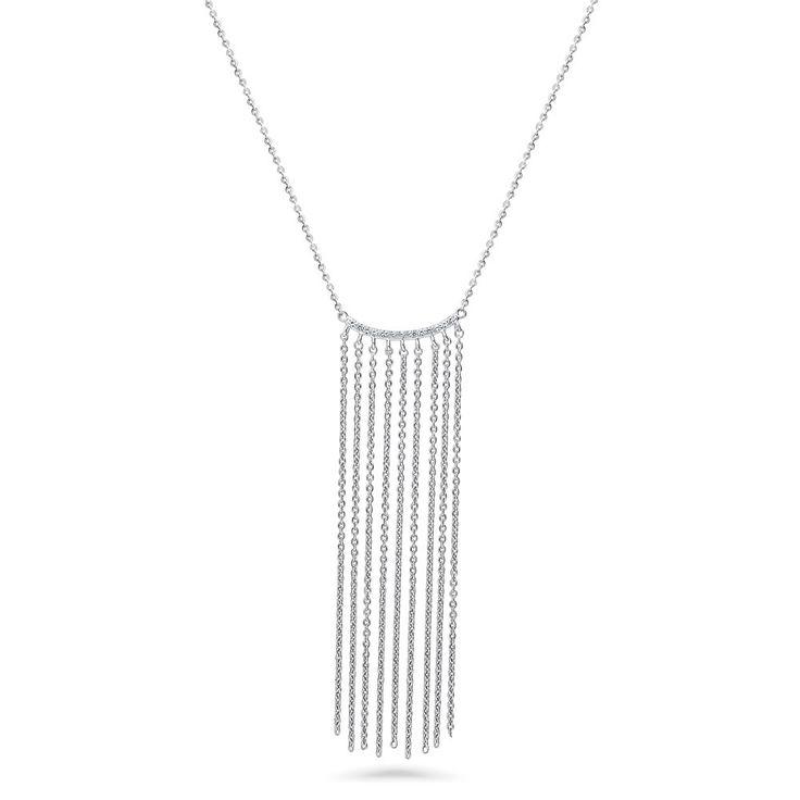 Sterling Silver CZ Fringe Bar Necklace