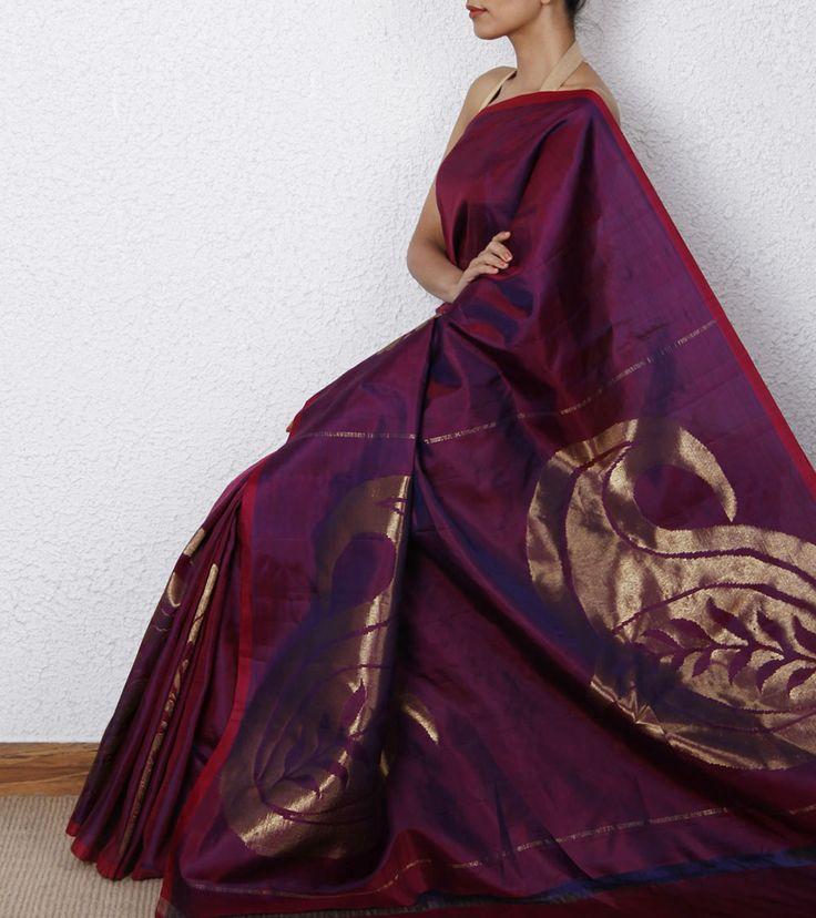 Purple Kanjivaram Saree with Zari Work Rs. 15000/- Shop Now @ http://www.indianroots.com/purple-kanjivaram-saree-with-zari-work-17603