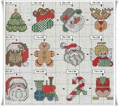 Olá!!!  Enfeites para árvore de natal bordados:    amei bordar estas miniaturas nas plaquinhas    aqui os gráficos que usei e mais algumas s...