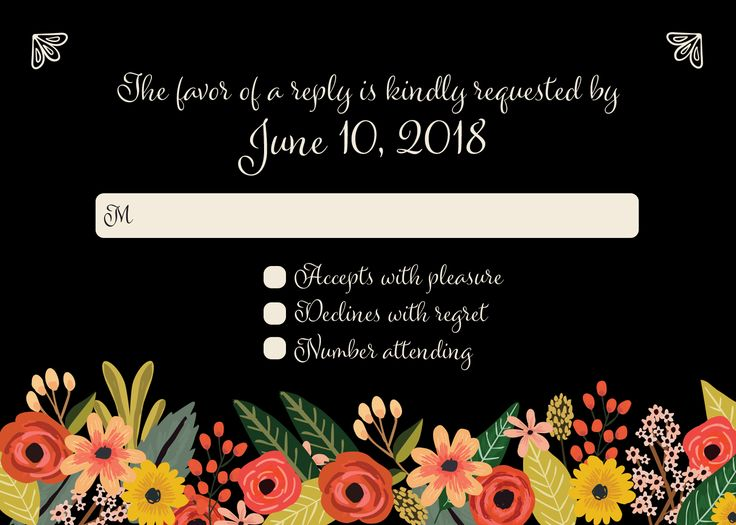 Modern black floral reply card with matching wedding invitation on our website! | CatPrint design #1118.