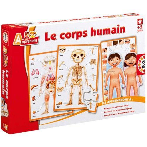 C1 puzzle pour connaître les organes de notre corps, 1 pour les os de notre squelette et 1 autre présentant les parties du corps féminin et masculin.