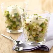 Verrine concombre poire et menthe aux pignons - une recette Entre amis - Cuisine