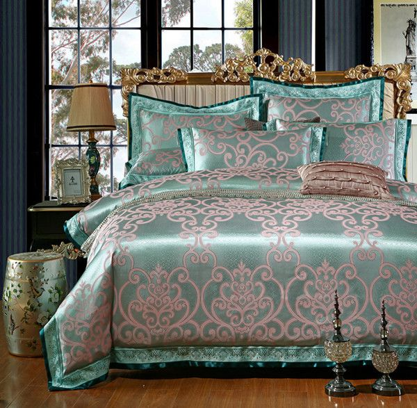 Sunny Rain 4/6-Pieces Silver Luxury Bedding Set Queen King Size Bed Set Jacquard Lace Duvet Cover