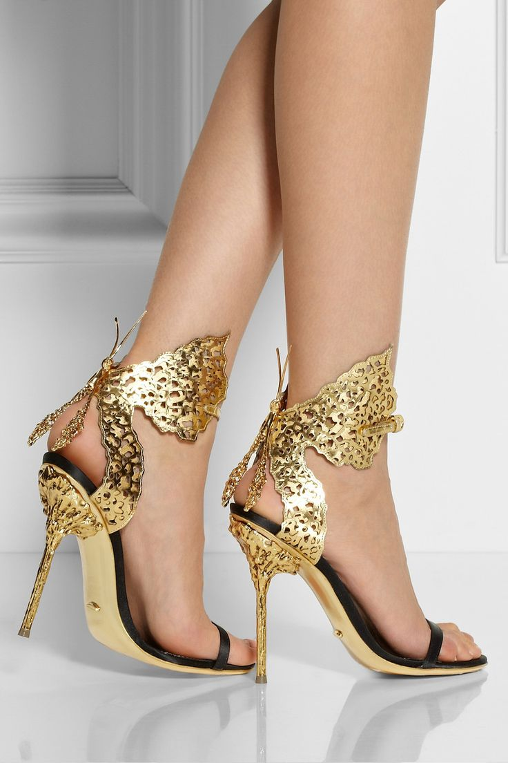 ♥ | Brand: Sergio Rossi | #Cutout #Gold #Metallic #Satin #Leather #Sandals #Shoes #Women