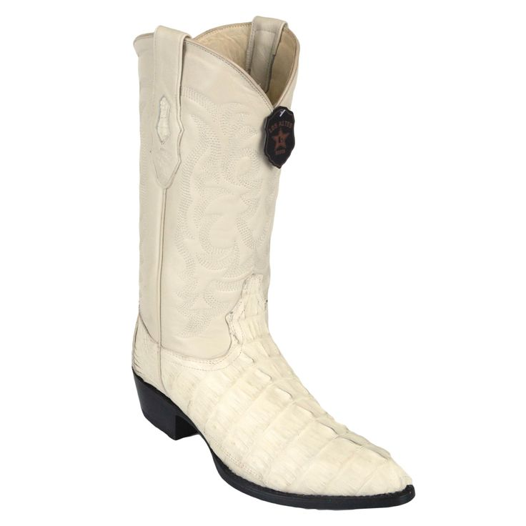 Los Altos Winter White Caiman Tail J-Toe Boot