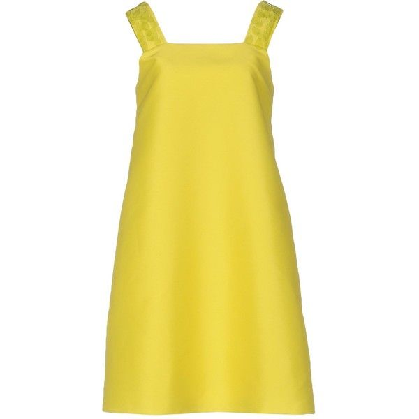 Attic And Barn Short Dress ($190) ❤ liked on Polyvore featuring dresses, yellow, short yellow cocktail dress, sleeveless short dress, short dresses, short yellow dress and yellow dress