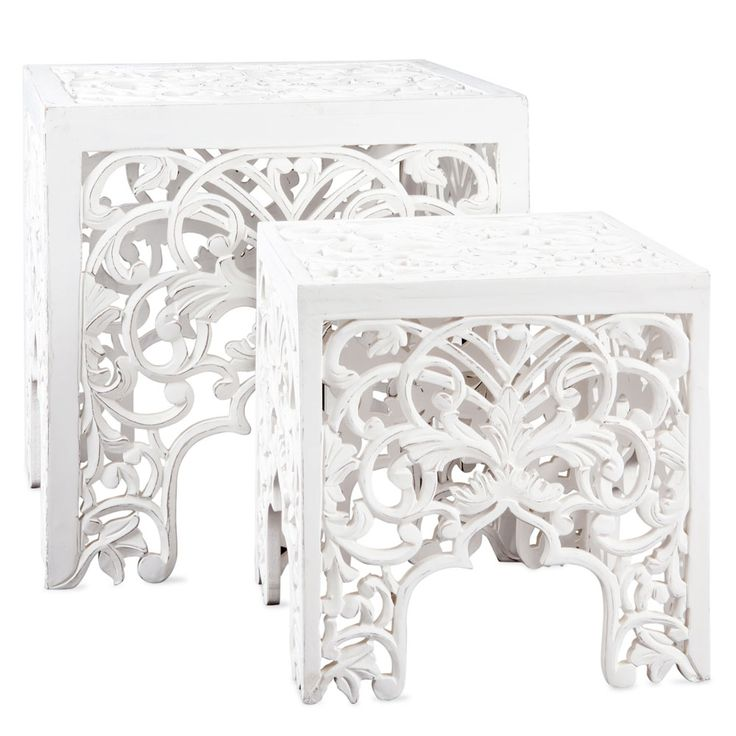Zara home openwork wooden tables set of 2 ref for Table zara home