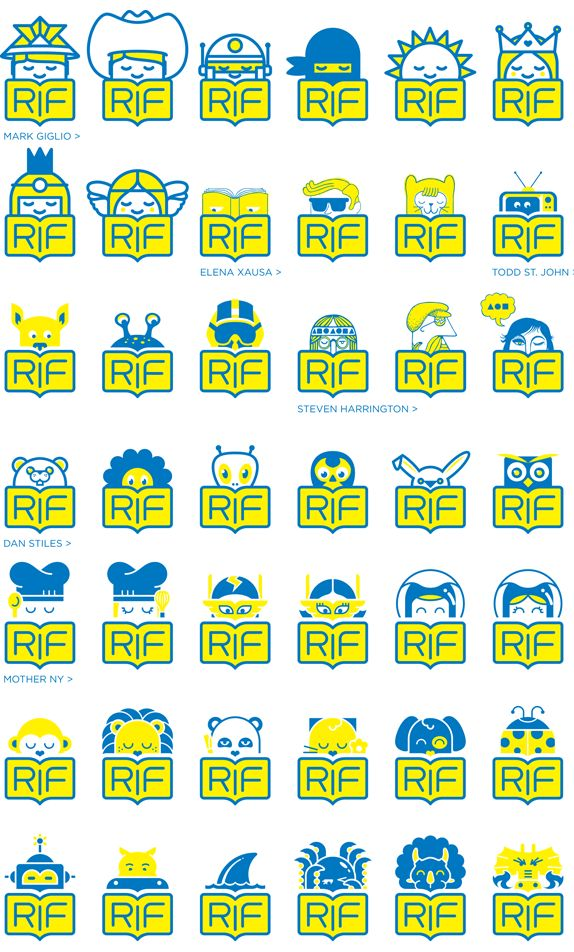 Redesign of Reading is Fundamental I Mother New York.     Logos with illustrations by Mark Giglio, Todd St. John, Elena Xausa, Steven Harrington and Dan Stiles.