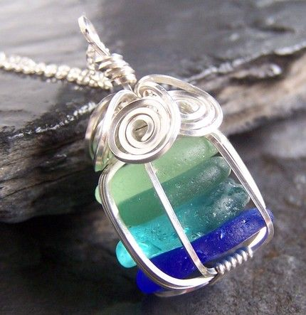wire wrapped caged sea glass....love the colors