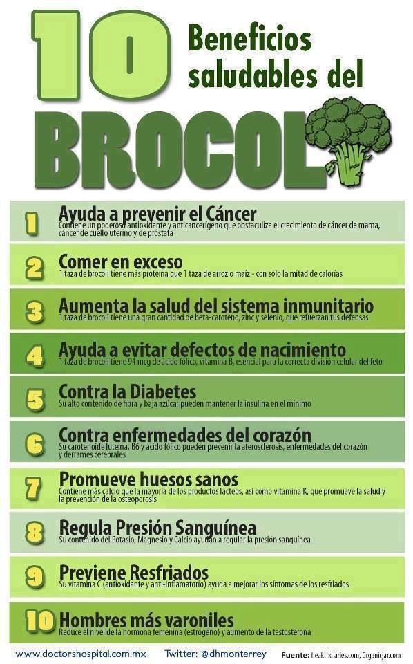 10 beneficios saludables del brocoli. #brocoli #infografía #infographic #saludable #salud