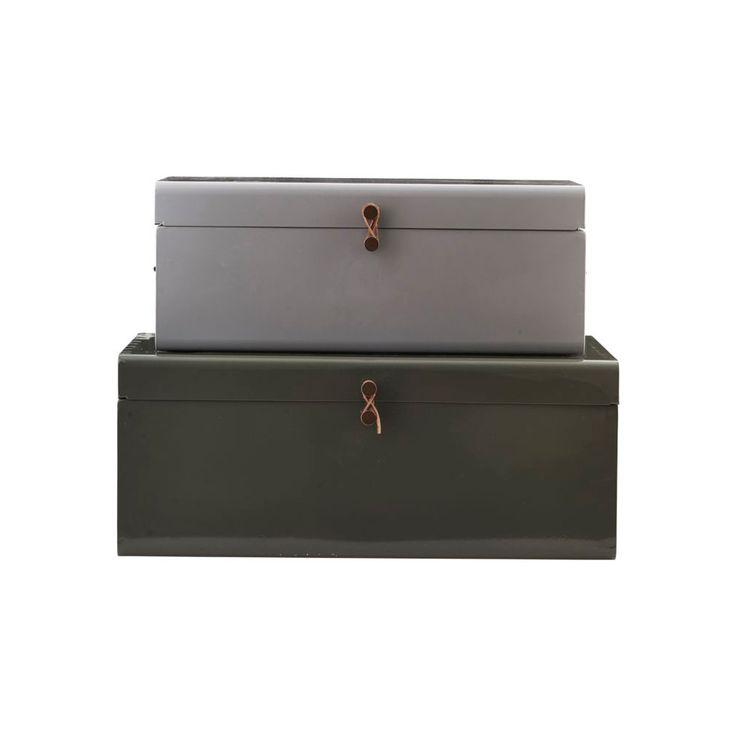 Metal Box Set Of 2, Green/Blue, 180