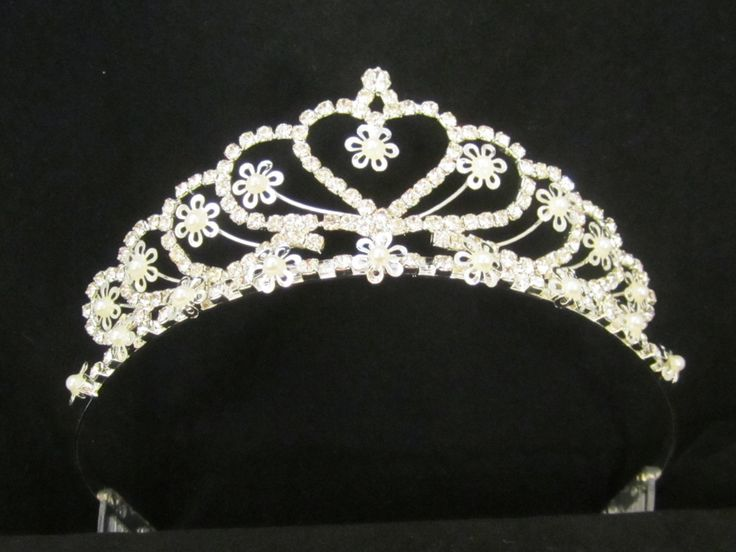 Rhinestone  heart  with  small  pearl  flowers  tiara  -  $ 15.95  each For  more  info  please  contact - Shoot  for  the  Moon  Jewelry Designs (850) 230-9983 #Valentineweddings #bridaltiaras #Tiaras #rhinestones