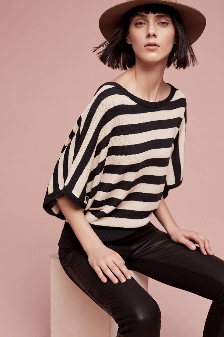 black and white striped shirt with large sleeves
