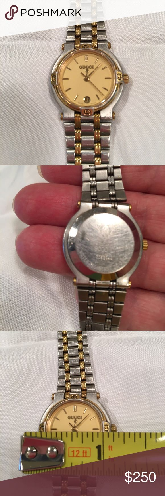 Ladies Gucci 9000L stainless steel watch Gucci 9000L two toned stainless steel watch. Water resistant.Serial # 004594. Good used condition. No scratches on face. Scratches on back. Battery replaced 7/10. Works perfectly ❗️❗️ Gucci Accessories Watches