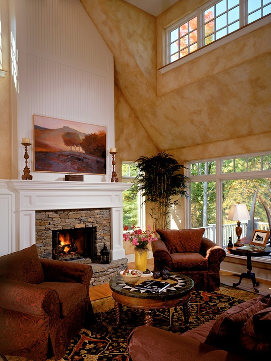 Nice Stone Fireplace And Step Hearth With Large White Wood