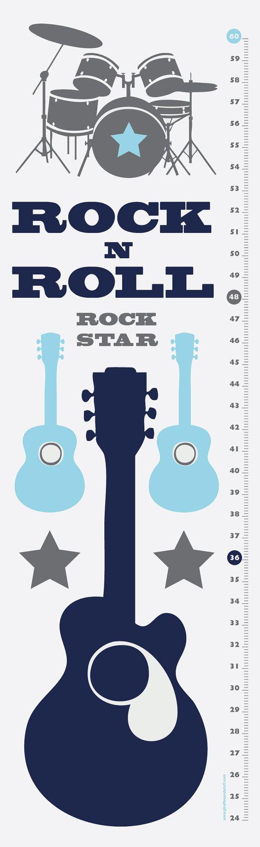 Rock N Roll - Modern Growth/Height Chart - Nursery Decor