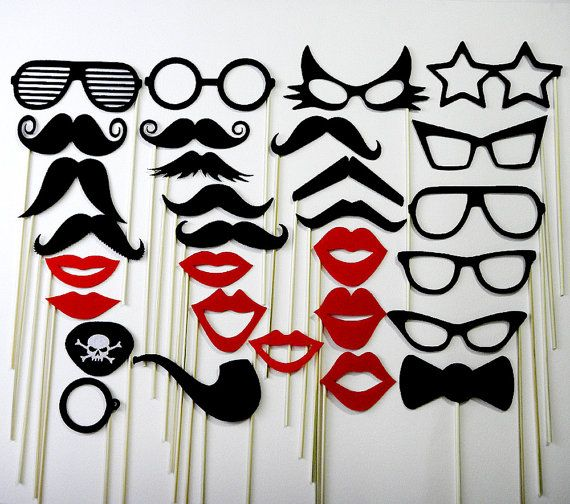 Mustache on a Stick Wedding Favor Party Photo Booth Prop Mask 30 Piece Set