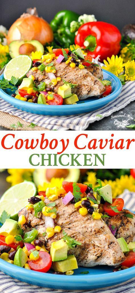 Cowboy Caviar Chicken | Salad Recipes | Healthy Dinner Recipes | Dinner Ideas | Easy Dinner Recipes | Salsa Recipes | Fresh Tomatoes | Corn | Clean Eating | Grilled Chicken | Chicken Breast Recipes | Healthy Recipes Easy