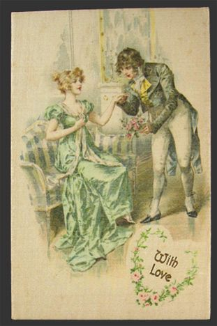 With Love Victorian Couple Postcard ~ Silk Fabric