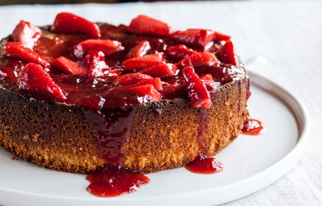 Flourless lemon cake with strawberries by Adam Gray, via Great British Chefs